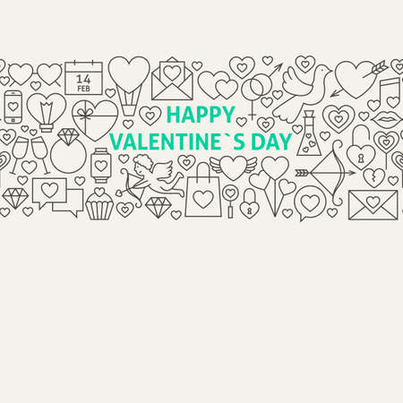 diamond rings: Happy Valentines Day Line Art Icons Seamless Web Banner. Illustration for Website banner and landing page. Love Modern Design.
