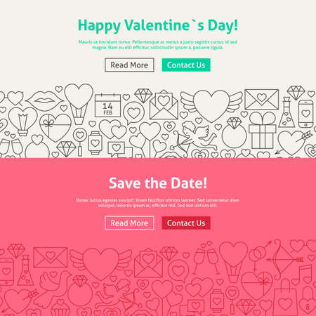 diamond rings: Happy Valentines Day Line Art Web Banners Set. Illustration for Website banner and landing page. Save the Date Modern Design. Illustration