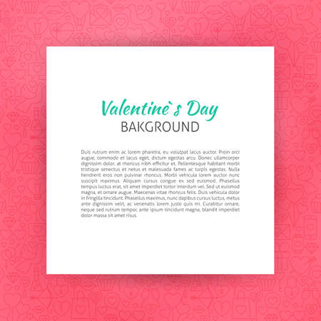 art piece: Paper over Happy Valentines Day Line Art Background. Illustration of Piece of Paper over Love Outline Modern Design.