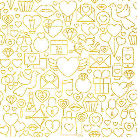 diamond rings: Thin Line Gold Valentine`s Day Seamless Pattern. Website Design and Seamless Background in Trendy Modern Line Style. Love Wedding.