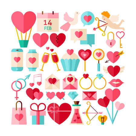 Big Collection of Valentine Day Objects. Flat Design Vector Illustration. Set of Love Wedding Colorful Items. Vettoriali