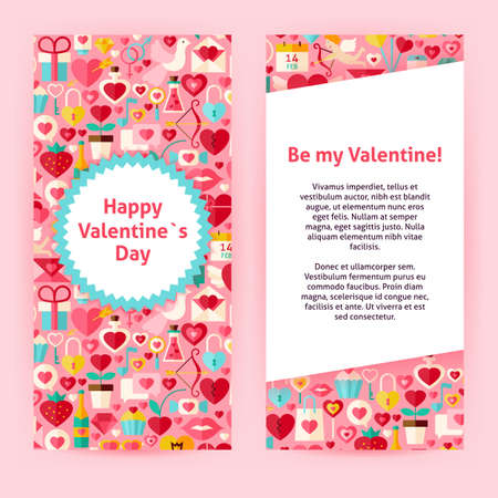 poison arrow: Flyer Template of Happy  Valentine Day Objects and Elements. Flat Style Design Vector Illustration of Brand Identity for Wedding Promotion. Colorful Pattern for Love Advertising.