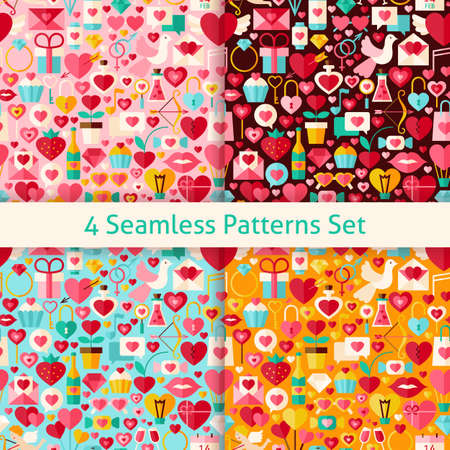 romantic sex: Four Valentine Day Seamless Patterns Set. Wedding Flat Design Vector Illustration. Background. Set of Love Holiday Items.