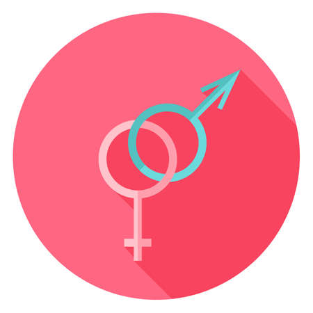 romantic sex: Gender Sex Sign Circle Icon. Flat Design Vector Illustration with Long Shadow. Happy Valentine Day and Love Symbol. Illustration