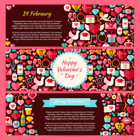 romantic sex: Happy Valentine Day Horizontal Banners Set. Flat Design Vector Illustration of Brand Identity for Love Holiday Promotion. Colorful Pattern for Advertising. Illustration