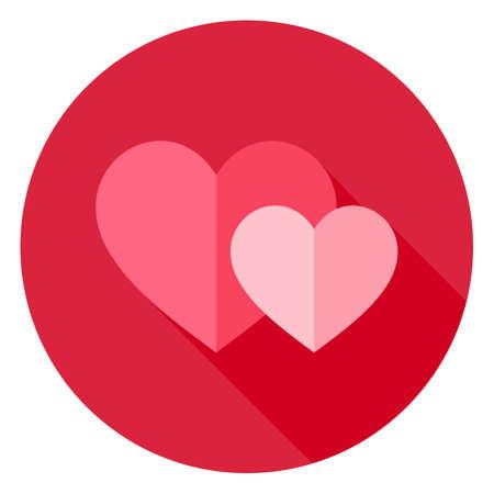 Pareja de dos corazones icono del círculo. Piso de diseño de ilustración vectorial con una larga sombra. Día de San Valentín feliz y símbolo del amor.