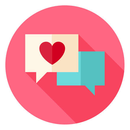 message icon: Love Messages with Heart Circle Icon. Flat Design Vector Illustration with Long Shadow. Happy Valentine Day and Love Symbol. Illustration