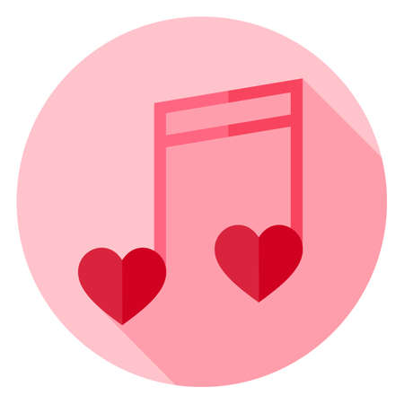 valentine musical note: Musical Note with Hearts Circle Icon. Flat Design Vector Illustration with Long Shadow. Happy Valentine Day and Love Symbol. Illustration