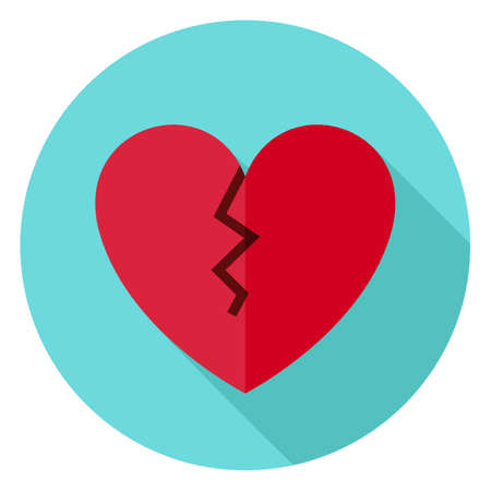 heart pain: Broken Heart Circle Icon. Flat Design Vector Illustration with Long Shadow. Happy Valentine Day and Love Symbol.