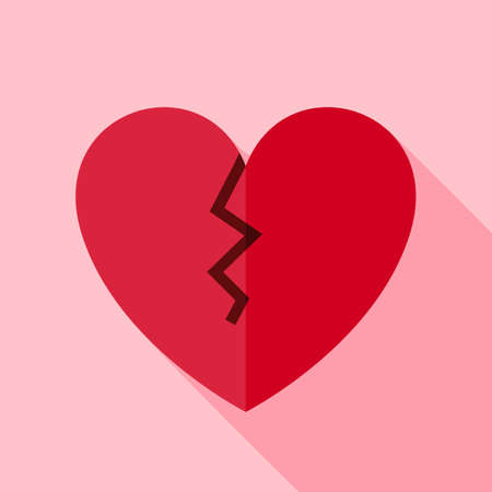 heart pain: Broken Heart Icon. Flat Design Vector Illustration with Long Shadow. Happy Valentine Day and Love Symbol. Illustration