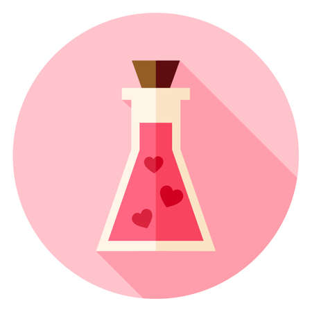 poison symbol: Love Poison with Hearts Circle Icon. Flat Design Vector Illustration with Long Shadow. Happy Valentine Day and Love Symbol. Illustration