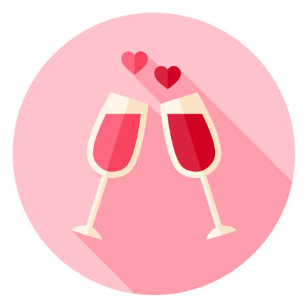 Two Glasses with Wine Circle Icon. Flat Design Vector Illustration with Long Shadow. Happy Valentine Day and Love Symbol. Vettoriali