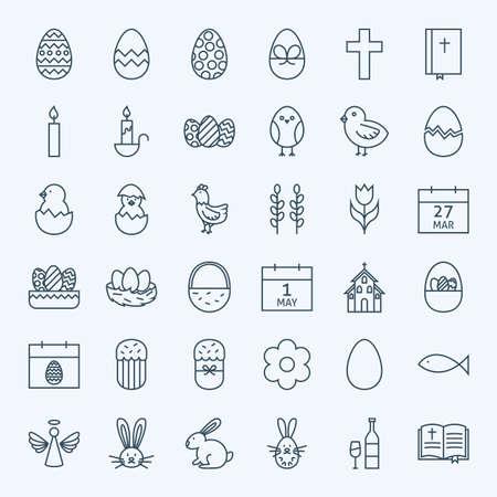 huevos de pascua: Línea felices de Pascua Iconos de vacaciones fijado. Vector Conjunto de iconos modernos esquema fino de sitios web y móvil. Vectores