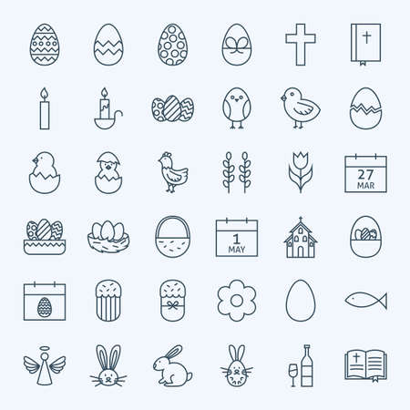 nest egg: Line Happy Easter Holiday Icons Set. Vector Set of Modern Thin Outline Icons for Website and Mobile.
