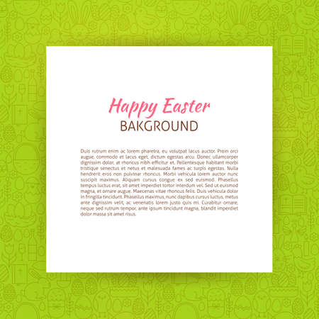 art piece: Paper over Happy Easter Line Art Background. Vector Illustration of Piece of Paper over Spring Holiday Outline Modern Design.