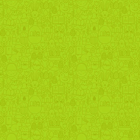 cake background: Thin Line Happy Easter Green Seamless Pattern. Vector Website Design and Seamless Background in Trendy Modern Outline Style. Spring Holiday.