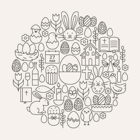 modern: Happy Easter Line Icons Set Circle Shape. Vector Illustration of Spring Holiday Modern Objects.