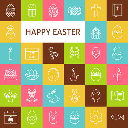 outline fish: Line Art Happy Easter Icons Set. Vector Set of Spring Holiday Modern Outline Icons for Web and mobile. Illustration