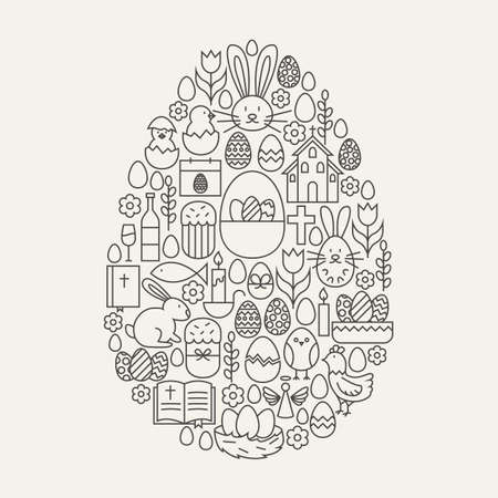 Happy Easter Line Icons Set Egg Shape. Vector Illustration of Spring Holiday Modern Objects. Vectores