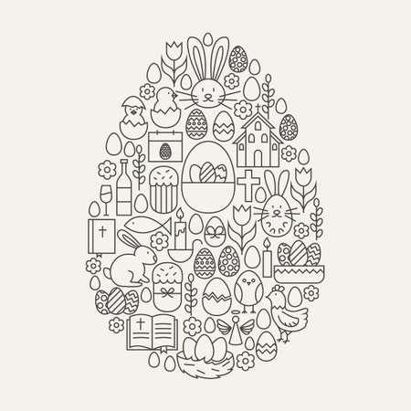 Happy Easter Line Icons Set Egg Shape. Vector Illustration of Spring Holiday Modern Objects. Illusztráció