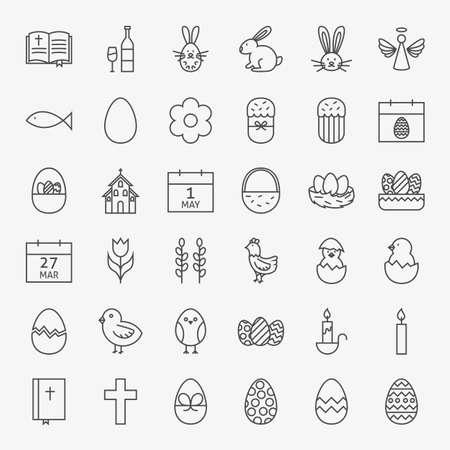 gallina con huevos: Feliz Pascua Iconos Conjunto grande de la l�nea. Vector Conjunto de iconos modernos esquema fino de sitios web y m�vil.