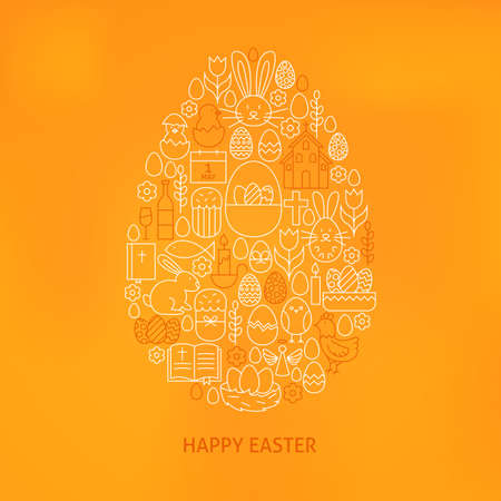 egg shape: Orthodox Easter Line Icons Set Egg Shape. Vector Illustration of Modern Spring Holiday Objects over Orange Blurred Background. Illustration