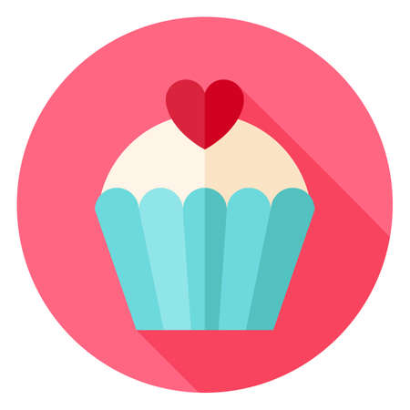 Cute Lovely Cupcake with Heart Circle Icon. Flat Design Vector Illustration with Long Shadow. Happy Valentine Day and Love Symbol. Vectores