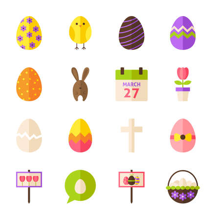easter sign: Happy Easter Objects Set isolated over White. Flat Design Vector Illustration. Collection of Spring Holiday Items. Illustration