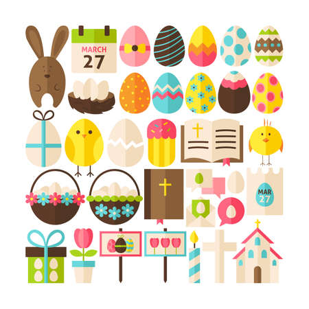 easter sign: Collection of Happy Easter Objects. Flat Design Vector Illustration. Set of Spring Religious Christian Colorful Items.