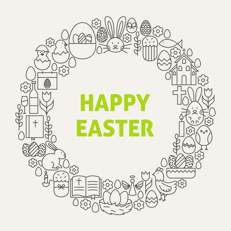 religious celebration: Happy Easter Line Art Icons Set Circle. Vector Illustration of Decoration and Celebration Objects. Spring religious holiday Items. Stock Photo