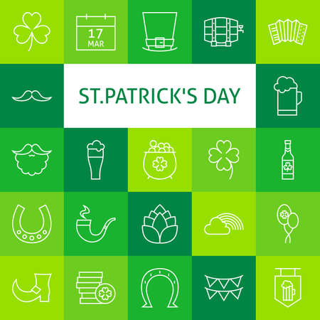 celtic shamrock: Line Art Modern Saint Patrick Day Icons Set. Spring Icons Set over Colorful Tile. Vector Set of Outline Icons for Web and Mobile. Stock Photo