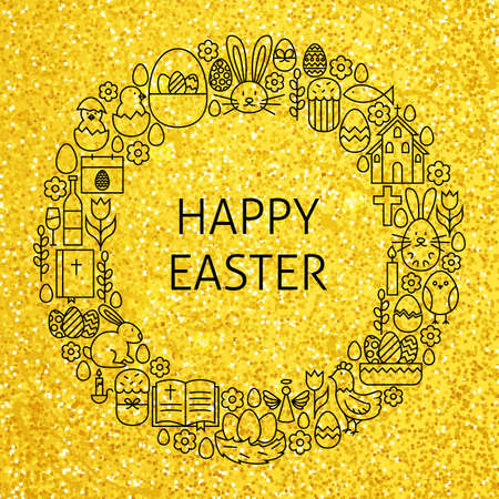 religious celebration: Gold Happy Easter Holiday Line Art Icons Set Circle. Vector Illustration of Decoration and Celebration Objects. Spring Religious Items.