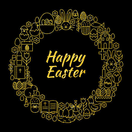 religious celebration: Happy Easter Gold Black Line Art Icons Circle. Vector Illustration of Decoration and Celebration Objects. Spring Religious Holiday Items.