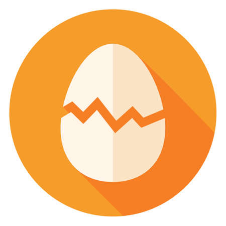Egg with Broken Eggshell Circle Icon. Flat Design Vector Illustration with Long Shadow. Food Symbol.