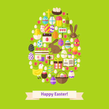 egg shaped: Vector Flat Happy Easter Objects Concept Egg Shaped. Collection of Spring Holiday Colorful Objects. Set of Christian Religion Items. Illustration