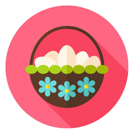 flower white: Basket with Flowers full of Eggs Circle Icon. Flat Design Vector Illustration with Long Shadow. Spring Christian Holiday Symbol.