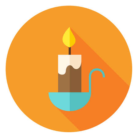 suppository: Candle Circle Icon. Flat Design Vector Illustration with Long Shadow. Religion Holiday Symbol. Illustration