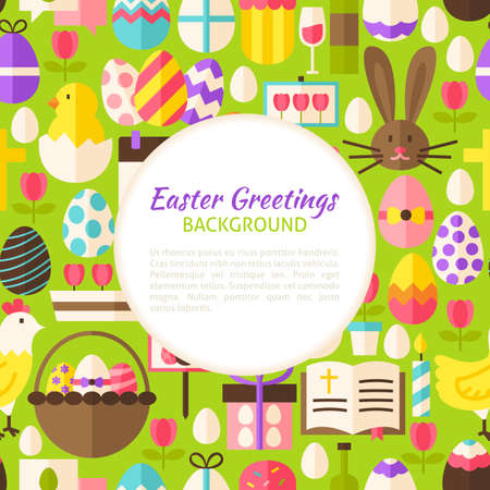 poster art: Happy Easter Pattern Background. Flat Style Vector Illustration for Spring Religious Holiday Promotion Template. Colorful Objects for Advertising. Greeting Postcard with Text.