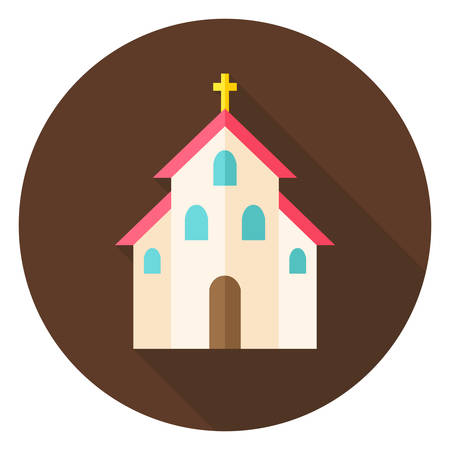 catholic symbol: Christian Religion Church with Cross Circle Icon. Flat Design Vector Illustration with Long Shadow. Building Symbol.
