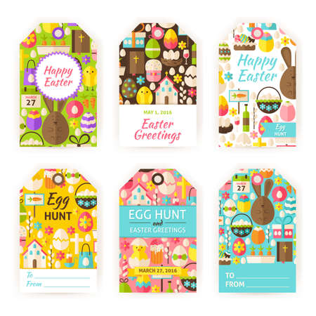 Happy easter party invitation flyer set flat design vector happy easter gift tag template set flat vector illustration of spring christian labels printable negle Image collections