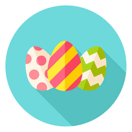 stipe: Three Easter Eggs with Decor Circle Icon. Flat Design Vector Illustration with Long Shadow. Spring Christian Holiday Symbol. Illustration