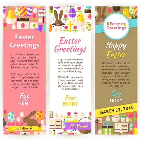 cross hatched: Happy Easter Vertical Flyer Set. Flat Design Vector Illustration of Brand Identity for Spring Religious Holiday Promotion. Colorful Pattern for Advertising.