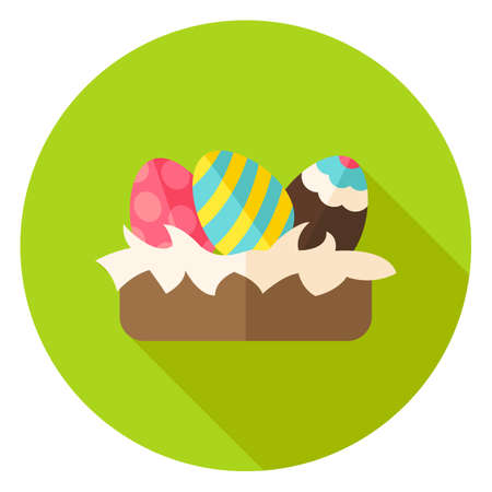 receptacle: Nest with Easter Eggs with Decor Circle Icon. Flat Design Vector Illustration with Long Shadow. Spring Christian Holiday Symbol.