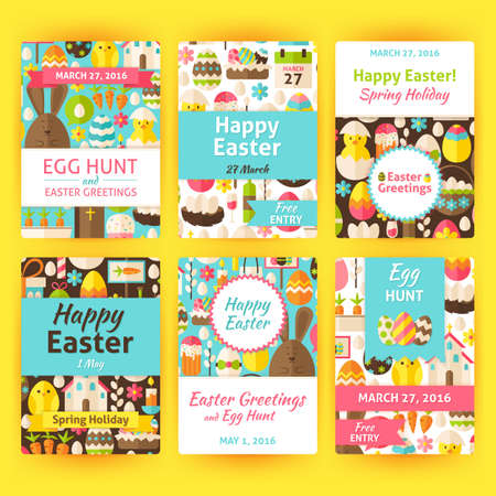 easter sign: Easter Greeting Vector Template Invitation Set in Modern. Flat Design Vector Illustration of Brand Identity for Spring Religious Holiday Promotion. Colorful Pattern for Advertising. Illustration