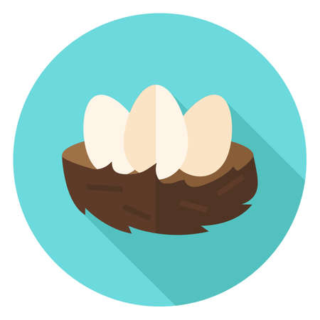 receptacle: Nest with Eggs Circle Icon. Flat Design Vector Illustration with Long Shadow. Food Symbol.