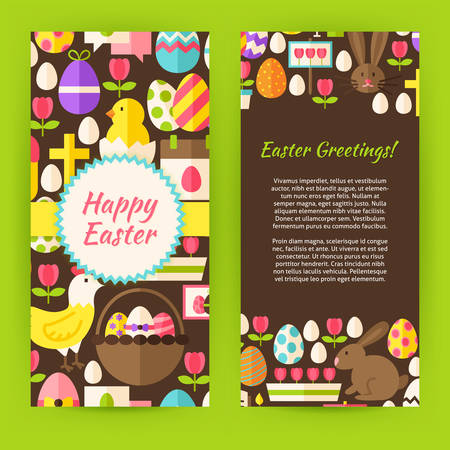 flower designs: Vertical Flyer Template Happy Easter. Flat Style Design Vector Illustration of Brand Identity for Spring Promotion. Colorful Pattern for Christian Holiday Advertising. Illustration