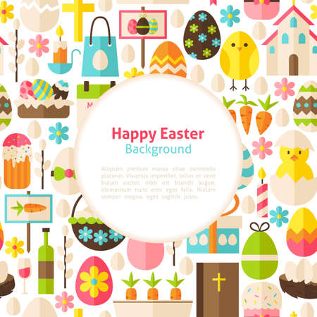 poster art: Happy Easter Background. Flat Style Vector Illustration for Spring Religious Holiday Promotion Template. Colorful Objects for Advertising. Greeting Postcard with Text.