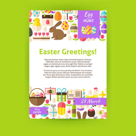 Happy easter invitation template poster flat design vector happy easter invitation template poster flat design vector illustration of brand identity for spring religious stopboris Image collections