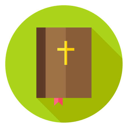 holiday prayer book: Bible Book with Bookmark and Cross Circle Icon. Flat Design Vector Illustration with Long Shadow. Christian Symbol.