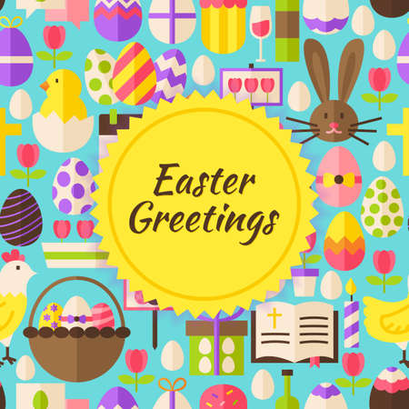 poster art: Happy Easter Background. Flat Style Vector Illustration for Spring Religious Holiday Promotion Template. Colorful Objects for Advertising.
